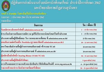 ปฏิทินการรับสมัครนักศึกษา ระดับปริญญาตรี ปีการศึกษา 2561 (รอบ Portfolio 1)
