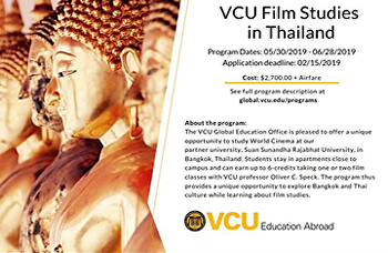Virginia Commonwealth University, U.S.A.and Suan Sunandha International School of Art(SISA), Thailand jointly organize summer courses on Film Studies.