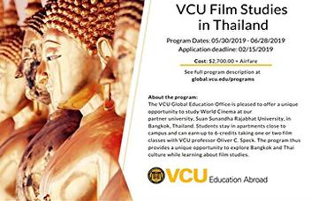 Virginia Commonwealth University, U.S.A.and Suan Sunandha International School of Art(SISA), Thailand jointly organize summer courses on Film Studies.
