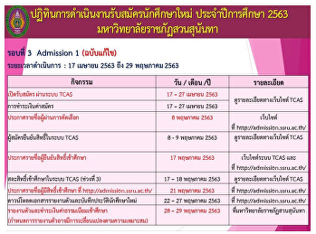 ปฎิทินการดำเนินงานรับสมัครนักศึกษาใหม่ ประจำปีการศึกษา 2563 (รอบที่ 3 Admission ฉบับแก้ไข)