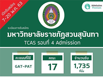 TCAS Round 4 Admission Recruitment Rules, Suan Sunandha Rajabhat University, 7-20 May 63
